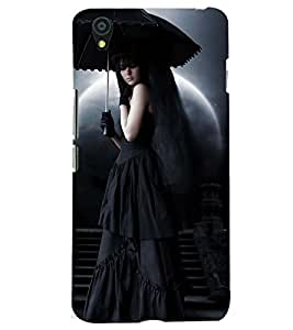 Printvisa Premium Back Cover Lady With A Haunted Background Design For One Plus X::One + X