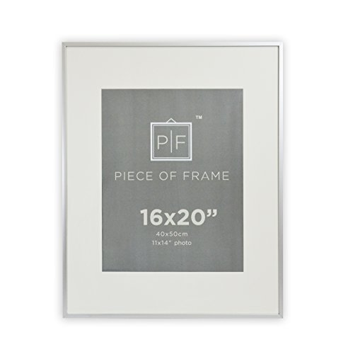 Golden State Art, 16x20 Aluminum Silver Photo Frame, with Ivory Color Mat for 11x14 Pictures, & Real Glass (Aluminum Pictures compare prices)