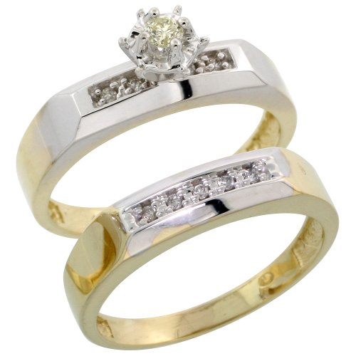 Sterling Silver (Gold Plated) 2-Piece Diamond Engagement Ring Set, w/ 0.10 Carat Brilliant Cut Diamonds, 3/16 in. (4.5mm) wide, Size 7