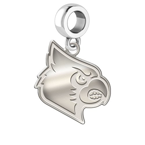 University of Louisville Cardinals Sterling Silver Natural Finish Logo Dangle Charm Fits All European Style Charm Bracelets