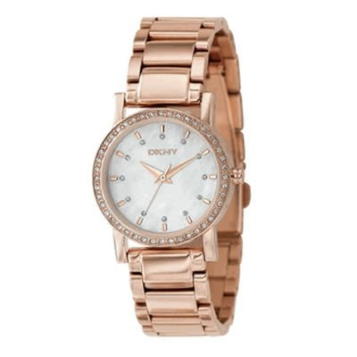 DKNY Women's NY8121 Pink Stainless-Steel Quartz Watch with Silver Dial