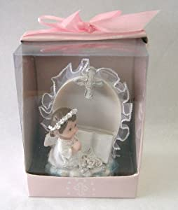 "Baby Keepsake: Set of 12 Baby ""Girl"" Angel Praying New to Bible Statue Religious Gift Boxed Party Favors CR087W-P"