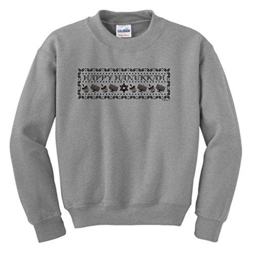 Happy Hanukkah Ugly Christmas Sweater Youth Crewneck Sweatshirt Medium Sport Grey