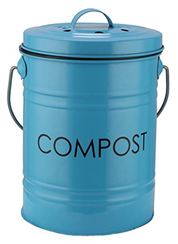 art deco kitchen compost bin by the relaxed gardener for countertop use includes 2 odor filters and easy to empty plastic liner