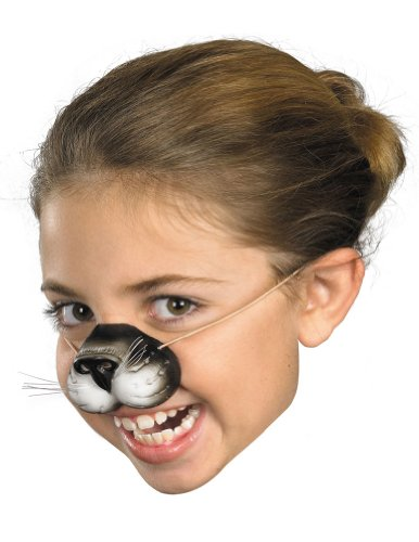 Scary-Masks Nose Black Cat W Elastic Mask Halloween Costume - Most Adults