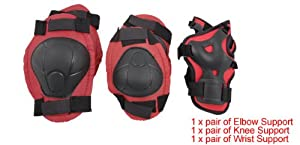 Como Red Black Skate Sports Knee Elbow Wrist Pad Support for Children