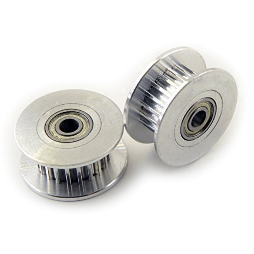 [3D CAM] 2 PCS x Aluminum Dual Ball Bearing Idler Timing Belt Pulley for 3D printers, 3mm Bore, 20 Teeth, for GT2 Belt