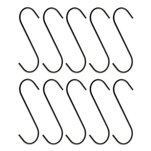 "10pc Heavy-Duty 5"" Steel S-Hooks Rust-Resistant Black Oxide Finish - Great for Hanging Plants"