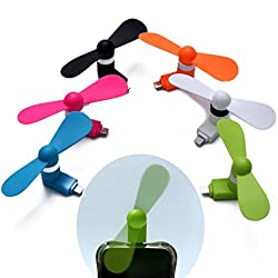 Micro USB Fan ( Colors May Vary ) With Two Wings Portable For Samsung , HTC And Android Smart Phones