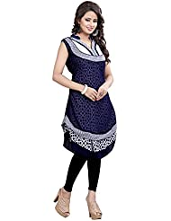 Youth Mantra Women's Abstract Print Georgette Navy Blue Kurti