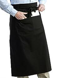 NUOLUX 女性男性キッチン料理ダブル ポケット付き ウエスト エプロン ウェイター エプロン(ブラック)