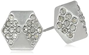 Sam Edelman Hexagon Pave Brushed Rhodium Colored Stud Earrings