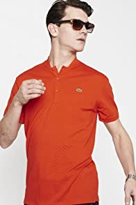 Short Sleeve Mini Pique Band Collar Polo Shirt