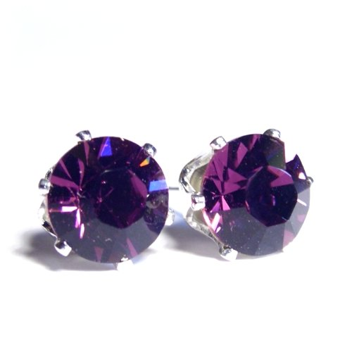 Large 925 Sterling Silver Stud Earrings set with Xilion Amethyst Swarovski Crystal. Gift Box. Beautiful jewellery for very special people.