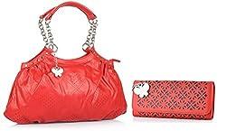 Butterflies Women's Combo Handbag (Red) (BNS MJ025)