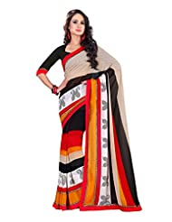 Fabdeal Black & Red Chiffon Printed Saree Sari Sarees