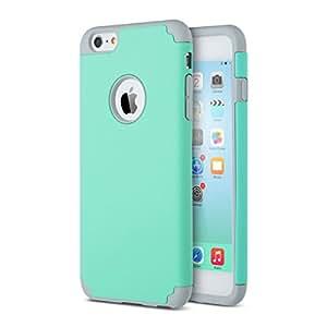 iPhone 6 Plus / 6S Plus Case, MagicSky Anti-Scratch Slim Dual Layer Silicone + PC Hard Case Cover for iPhone 6 Plus / iPhone 6S Plus - Grey/Turquoise