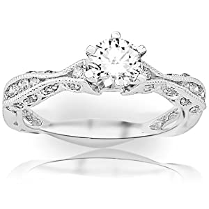 0.6 Carat Round Cut/Shape 14K White Gold Channel Set Eternity Curving Diamond Engagement Ring ( F-G Color , VS2-SI1 Clarity )