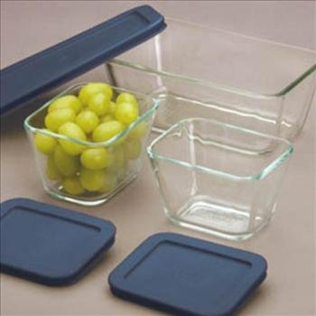 Pyrex 1073142 Rectangular Clear-Glass Food-Storage Containers With Blue Plastic Lids, Set Of 3