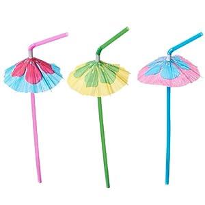 Hibiscus Parasol Straws, Assorted (1 dz)