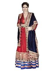 Aarti Lifestyle Women's Row Silk & Net Embroidered Maroon Anarkali Suit