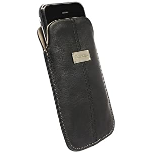 Krusell Large Luna Slim Leather Pocket Pouch for iPhone 4, Blackberry Curve 3G, HTC Desire, Sony Ericsson Xperia X10 and others (Black/Sand)