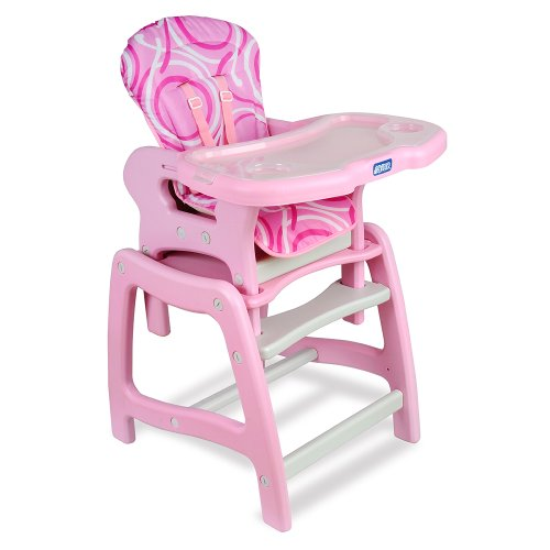 Badger Basket Envee Baby High Chair with Playtable Conversion, Pink/White