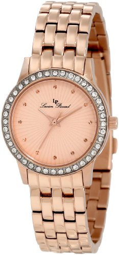 Lucien Piccard Women's 11696-RG-99 Monte Velan Rose Textured Dial Rose Gold Ion-Plated Stainless Steel Watch