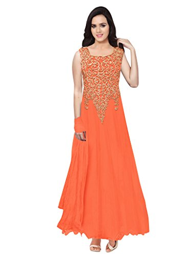 Sancom Orange Net Party Wear Gown , Salwar Suits - Dress Material