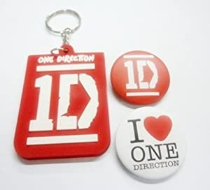 "3x 1.25"" 1D ONE DIRECTION #1 MUSIC Button Badge Pin Pinback brooch & Keychain Key Fob Ring"