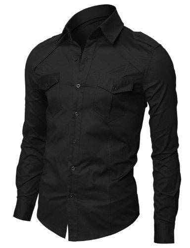 Jiniy Mens Casual Shoulder Strap Shirts BLACK M