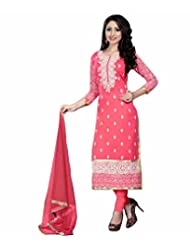 Price Bet Pink 60 Gm Georgette Straight Fit Salwar Suit