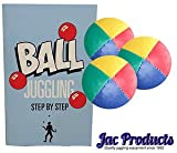 Jac Products 3 120G Original Thud Juggling Balls Yellow/Red/Blue/Green With 24 Page Book