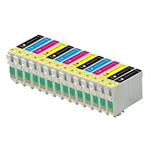 14 COMPATIBLE INK CARTRIDGES (3 Sets + 2 Black) FOR EPSON STYLUS S20, SX100, SX105, SX110, SX115, SX200, SX205, SX210, SX215, SX218, SX400, SX405, SX410, SX415, SX515W, SX600FW, SX610FW, BX300F, S21, SX110, SX115, SX215, SX410, SX415, SX515W, SX209, SX405 WiFi, D78, D92, D120, DX4000, DX4050, DX4400, DX4450, DX5000, DX5050, DX6000, DX6050, DX7450. DX8450, DX7000F, DX7400, DX8400, 5 x BLACK, 3 x CYAN, 3 x MAGENTA, 3 x YELLOW (NON-OEM)