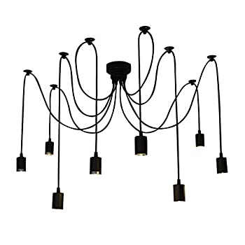 Fuloon Vintage Edison Multiple Ajustable DIY Ceiling Spider Lamp Light Pendant Lighting Chandelier Modern Chic Industrial Dining (8 head cable 150cm/50inch each)