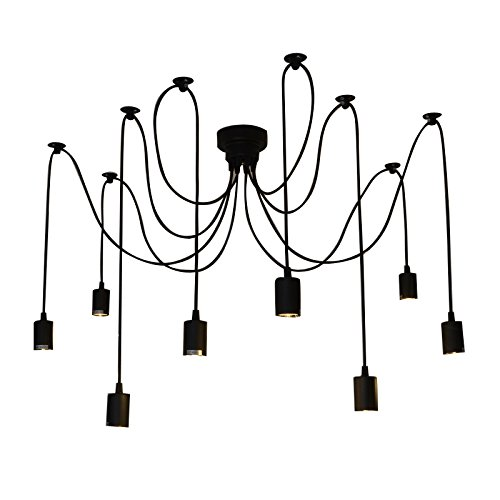 Fuloon Vintage Edison Multiple Ajustable DIY Ceiling Spider Lamp Light Pendant Lighting Chandelier Modern Chic Industrial Dining (8 head cable 150cm/50inch each) 1