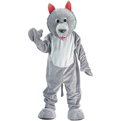Wolf Mascot (Grey) Adult Costume Size One-size