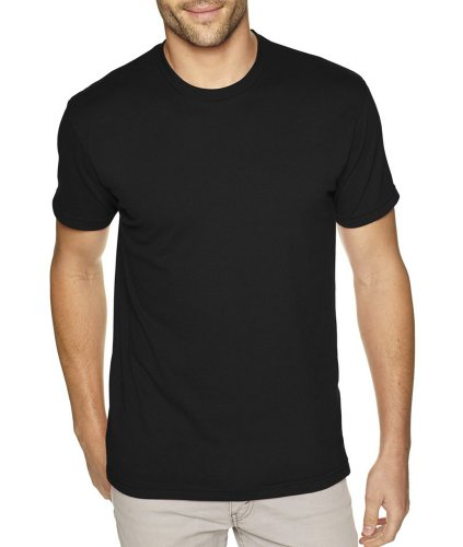 Next Level Apparel 6410 Mens Premium Fitted Sueded Crew Tee - Black, Large