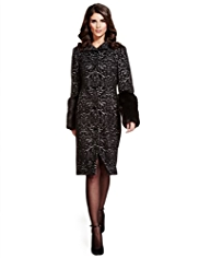 Per Una Speziale Faux Fur Cuff Jacquard Coat with Wool