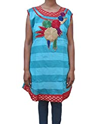 Beautiful Women's Wear Cotton Kurta Embroidery Work Tunic Kurti Size XL Top