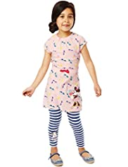 Limited Cotton Rich Mickey Mouse Tunic & Leggings Outfit with Stay New™