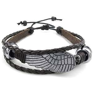 KONOV Bijoux Bracelet Homme - Rétro Aile, 18-23cm Réglable - Cuir - Alliage - Fantaisie - pour Homme et Femme - Chaîne de Main - Couleur Marron Argent - Avec Sac Cadeau