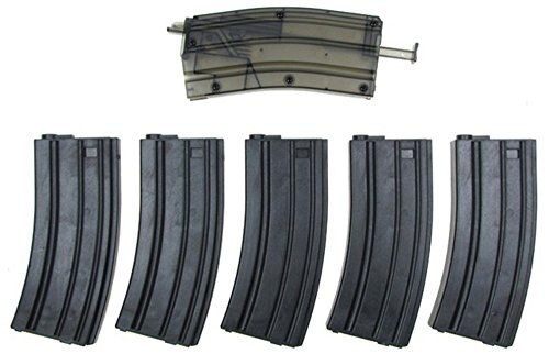 Airsoft M4/M16 Mid-Cap Polymer Magazines x 5 - 140 Round No Wind Mags w/ 400 rd Speed Loader - G&G JG Dboys (M4 High Cap Magazine compare prices)