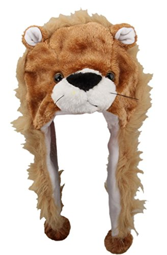 EOZY Adult Cartoon Lion Fuzzy Soft Hat with Ear Flap Animal Beanie Cap Costume