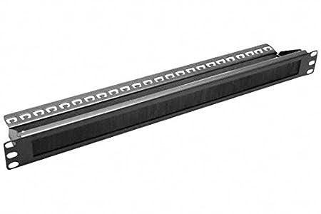 Panneau 19' passe câbles/fil à brosse 1U 19' avec support