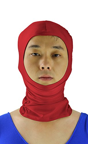 JustinCostume Adult Zentai Costume Open Face Hoods Mask Halloween Accessories, Red Wine, XL (Face Mask Open Face compare prices)