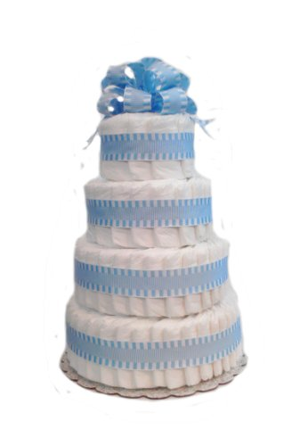 Classic Pastel Baby Shower Diaper Cake (4 Tier, Blue)