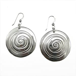 Spiral silver dipped earrings