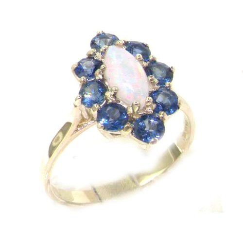 Luxury Ladies Solid Sterling Silver Natural Fiery Opal & Cornflower Blue Sapphire Cluster Ring - Size 12 - Finger Sizes 5 to 12 Available - Suitable as an Anniversary ring, Engagement ring, Eternity ring, or Promise ring