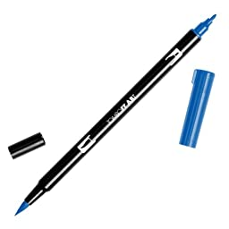 Tombow Dual Brush Pen Art Markers, Ultramarine 555, 6-Pack